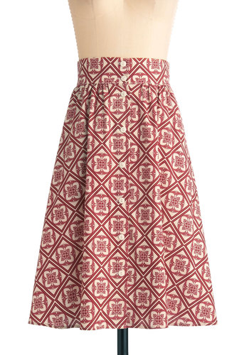 Button to See Here Skirt in Red Flower - Long, Red, Tan / Cream, Floral, Folk Art, Buttons, Work, Vintage Inspired, A-line, Cotton