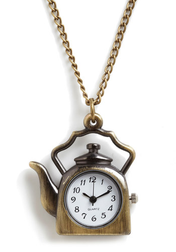 Tea O'Clock Necklace by Hannah Makes Things - Gold, Solid, Casual