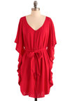 You and Me Forever Dress in Red by Jack by BB Dakota - Red, Solid, Buttons, Sheath / Shift, Ruffles, Casual, 3/4 Sleeve, Belted, Mid-length, Exclusives, Holiday Sale, Button Down, V Neck, Variation, Beach/Resort, Summer