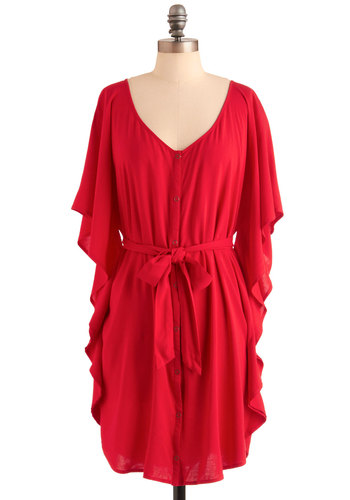 You and Me Forever Dress in Red by Jack by BB Dakota - Red, Solid, Buttons, Shift, Ruffles, Casual, 3/4 Sleeve, Belted, Exclusives, Holiday Sale, Button Down, V Neck, Variation, Beach/Resort, Summer, Mid-length