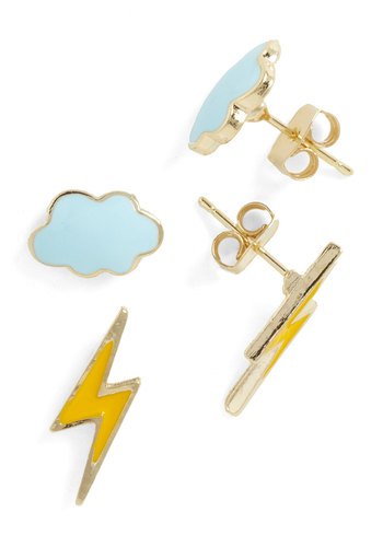 Thunderstud Earrings - Yellow, Blue, Solid, Casual, Urban, Yellow, Blue, Top Rated