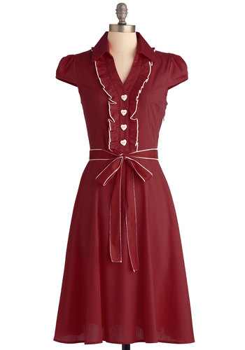 About the Artist Dress in Brick - Long, Red, Solid, Buttons, Ruffles, Vintage Inspired, Shirt Dress, Cap Sleeves, Fall, Belted, White, Casual, 60s, Cotton, Best Seller, Button Down, Collared, Fit & Flare, Work, Variation, Pinup