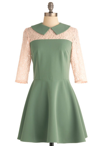 Jade with Love Dress - Mid-length, Green, Tan / Cream, Lace, Peter Pan Collar, Party, Vintage Inspired, A-line, Spring, 60s, 3/4 Sleeve, Sheer, Collared, Fit & Flare