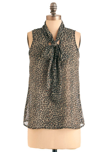 Pounce on the Opportunity Top - Mid-length, Tan / Cream, Black, Animal Print, Sleeveless, Brown, Party, Tie Neck, Sheer