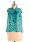 Like It a Dot Top in Blue - Short, Blue, Black, Polka Dots, Sleeveless, Work, Tie Neck, Sheer