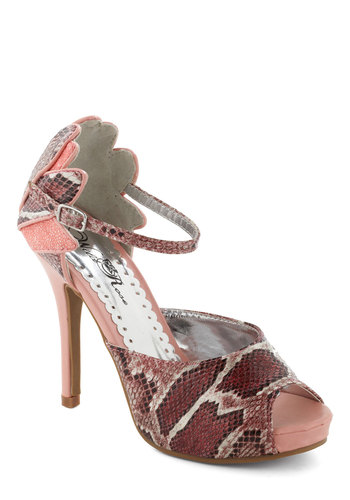 Serpentine Idol Heel - Pink, Multi, Red, Tan / Cream, Animal Print, Scallops, Party, High