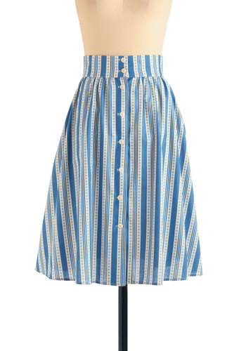 Button to See Here Skirt in Blue Stripe - Long, Blue, White, Stripes, Buttons, A-line, Pockets, Casual, Summer, Cotton
