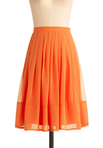 Clementine and Again Skirt - Mid-length, Orange, Solid, Pleats, A-line, Casual, Summer, Press Placement, Daytime Party