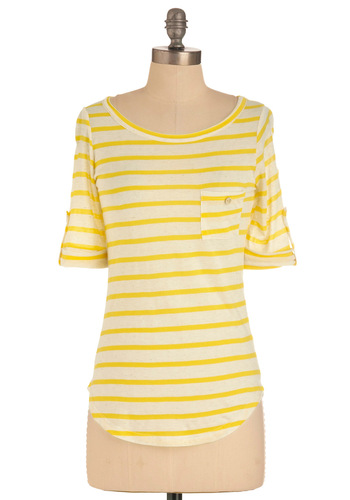 Stripe Zone Top in Yellow - Yellow, White, Stripes, Buttons, Pockets, Casual, Short Sleeves, Mid-length, Pastel