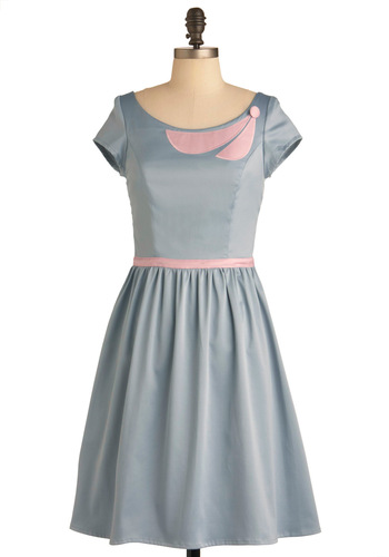 Decisions, Decisions Dress - Mid-length, Grey, Pink, Solid, Buttons, Party, A-line, Vintage Inspired, 50s, Short Sleeves