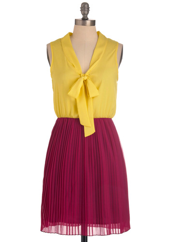 Pleats Excuse Me Dress - Mid-length, Yellow, Pink, Pleats, Twofer, Sleeveless, Work, Tie Neck, Scholastic/Collegiate