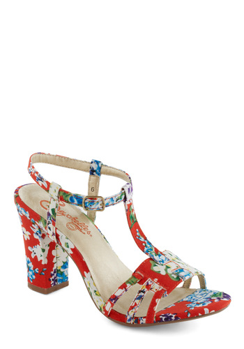 Mum Heel by Seychelles - Floral, Vintage Inspired, 60s, Summer, Mid, Chunky heel, Multi, Red, Blue, Party, Better, T-Strap