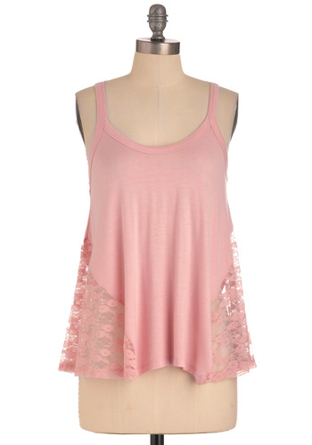 It's Trapeze-y Top in Pink - Pink, Solid, Lace, Casual, Tank top (2 thick straps), Mid-length, Summer