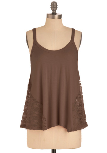 It's Trapeze-y Top in Dark Taupe - Brown, Lace, Tank top (2 thick straps), Mid-length, Solid, Casual, Summer, Sheer, Jersey, Scoop