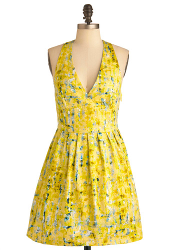 Process of Lemon-ation Dress by Jack by BB Dakota - Mid-length, Yellow, Blue, Grey, White, Print, Pleats, Party, A-line, Halter, Summer