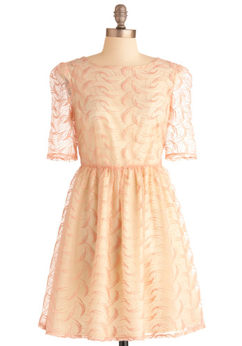 Bubble Gum Princess Dress - Mid-length, Pink, Tan / Cream, Print, Embroidery, Party, A-line, 3/4 Sleeve, Spring, Orange, International Designer