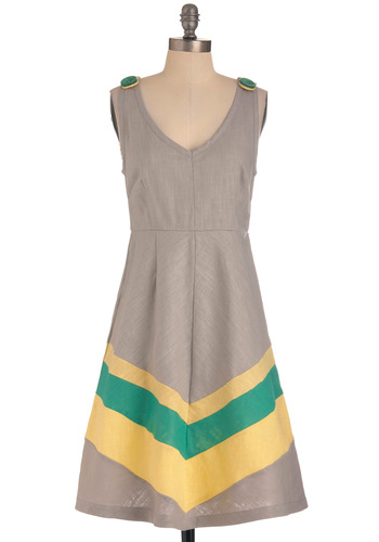 Beauty by the Bay Dress in Grey by Knitted Dove - Mid-length, Yellow, Green, Buttons, Tank top (2 thick straps), Spring, Grey, Casual, A-line