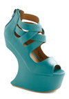 Moon Maven Wedge - Blue, Solid, Statement, High, Platform, Party, Wedge