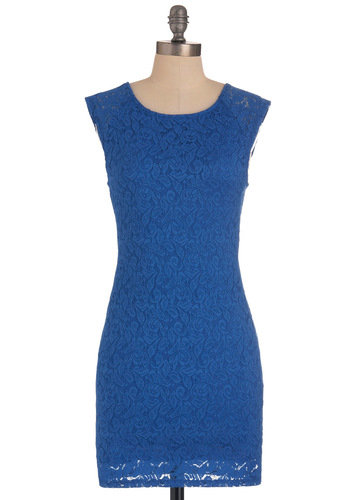 Secret Cutout Dress - Short, Blue, Cutout, Lace, Sleeveless, Girls Night Out, Solid, Bodycon / Bandage