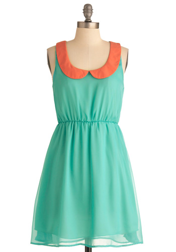 Collar Palette Dress - Mid-length, Green, Orange, Peter Pan Collar, Sheath / Shift, Spring, Casual, Sleeveless, Pastel, Sheer, Mint, Collared