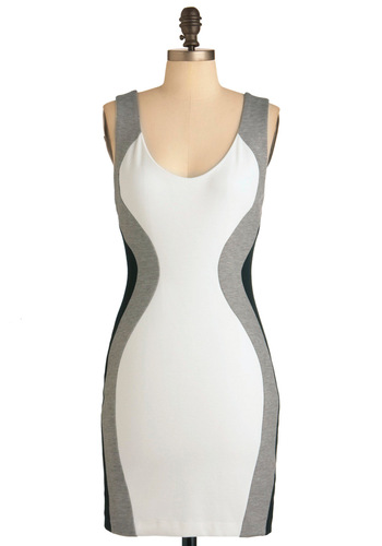 Graded On a Curve Dress - Black, Grey, Mini, Tank top (2 thick straps), Summer, Girls Night Out, White, Mid-length