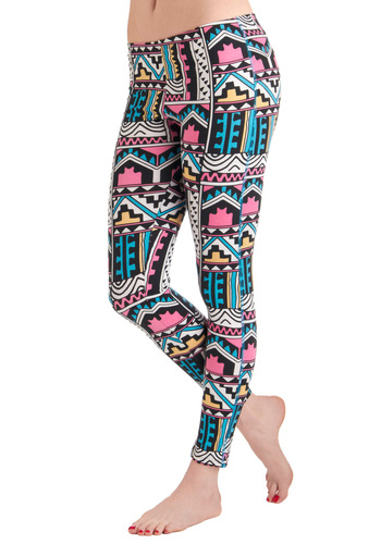 Rules of Abstraction Leggings in Geometric by Motel - Multi, Multi, Print, Casual, Folk Art, Mid-length