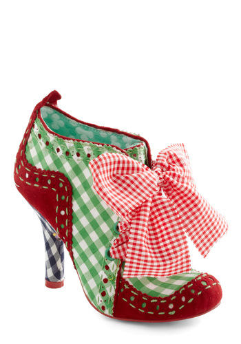 Alfresco Fiesta Heel by Irregular Choice - Red, Black, White, Checkered / Gingham, Bows, Mid, Lace Up, Multi, Green, Leather