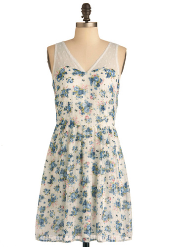 Rehearsal Picnic Dress by Sugarhill Boutique - Mid-length, Green, Blue, Pink, Floral, Party, A-line, Tank top (2 thick straps), Spring, Multi, White, Pastel, Sheer, V Neck, International Designer