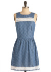 Gazebo Dreaming Dress by Sugarhill Boutique - Mid-length, White, Polka Dots, Crochet, Casual, A-line, Tank top (2 thick straps), Spring, Blue, Exposed zipper, International Designer