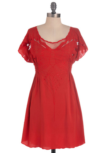 My Favorite Wings Dress in Red by Sugarhill Boutique - Short, Red, Casual, A-line, Short Sleeves, Embroidery, Sheer, Fit & Flare, International Designer