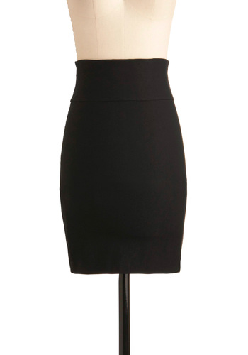 I Second That Promotion Skirt - Mid-length, Black, Solid, Bows, Pencil, Bodycon / Bandage, High Waist