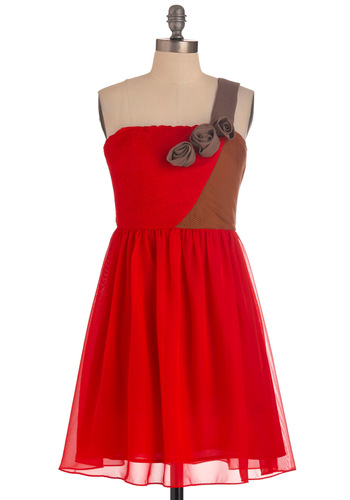 Opening Night Gala Dress - Mid-length, Red, Brown, Flower, Pleats, Party, A-line, One Shoulder, Wedding, Cocktail, Holiday Party, Fit & Flare, Tis the Season Sale