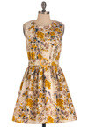 Reading by the Riverbank Dress - Short, Yellow, Grey, Floral, Cutout, A-line, Spring, Belted, Tan / Cream, Sleeveless, Daytime Party, Variation