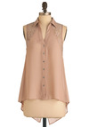 Lacing Back and Forth Top - Mid-length, Solid, Cutout, Lace, Sleeveless, Tan, Buttons, Party, High-Low Hem