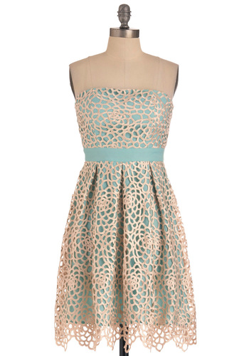 Keep It Reef Dress - Green, Tan / Cream, Floral, Pleats, Party, Empire, Strapless, Embroidery, Mid-length