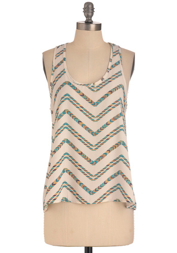 Trail of the Century Top - Casual, Racerback, Tan / Cream, Multi, Stripes, Mid-length