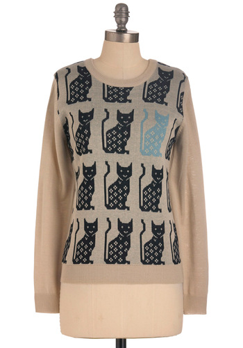Blues Cat Sweater - Mid-length, Blue, Black, Print with Animals, Knitted, Vintage Inspired, Long Sleeve, Tan, Casual, International Designer