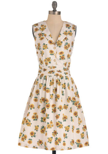 All This Happiness Dress by Trollied Dolly - Long, White, Yellow, Green, Floral, Buttons, Pleats, Party, Vintage Inspired, Sleeveless, Multi, Pearls, 60s, A-line, Summer, International Designer