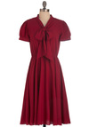 Event Planner Dress - Long, Red, Solid, Shirt Dress, Short Sleeves, Fall, Work, Tie Neck
