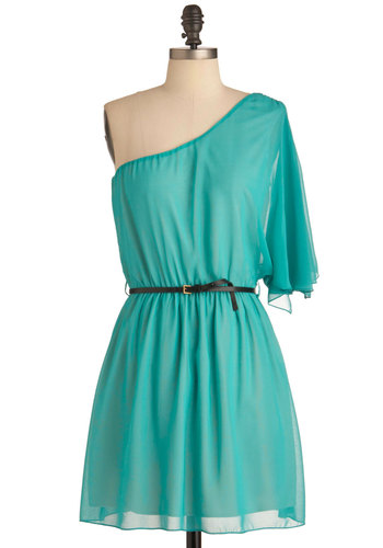 Charming at the Cantina Dress - Mid-length, Green, Solid, Party, Shift, One Shoulder, Belted, Sheer