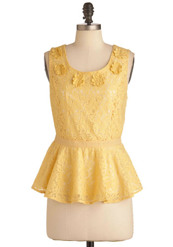 Buttercup Me Up Top - Mid-length, Yellow, Solid, Flower, Lace, Tank top (2 thick straps), Peplum, Party, Cotton