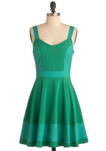 Sorbetto Believe It Dress in Green - Mid-length, Green, Solid, Tank top (2 thick straps), Summer, Fit & Flare, Casual