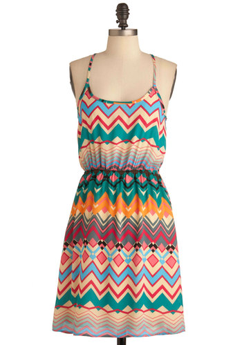 Two Worlds Kaleidoscope Dress - Mid-length, Multi, Casual, Racerback, Summer, Multi, Print
