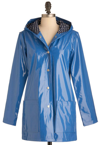 Pretty Slicker Rain Coat in Blue by Louche - Long, Blue, Solid, Spring, Pockets, Casual, Long Sleeve, 2, International Designer, Tis the Season Sale