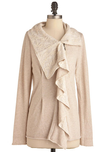 Zipper-y Slope Cardigan - Long, Tan, Solid, Lace, Casual, Long Sleeve, Exposed zipper, Ruffles