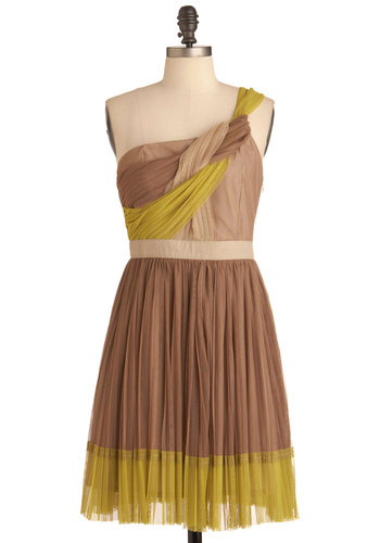 Step Up to the Plait Dress by Ryu - Mid-length, Green, Tan / Cream, Braided, Pleats, Party, A-line, One Shoulder, Brown, Sheer, Prom, Wedding, Bridesmaid
