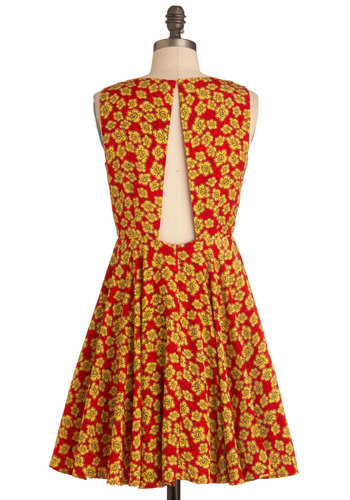 Flora-da Fancy Dress - Mid-length, Red, Yellow, Floral, A-line, Backless, Casual, Sleeveless, Summer, Fit & Flare, V Neck, Tis the Season Sale