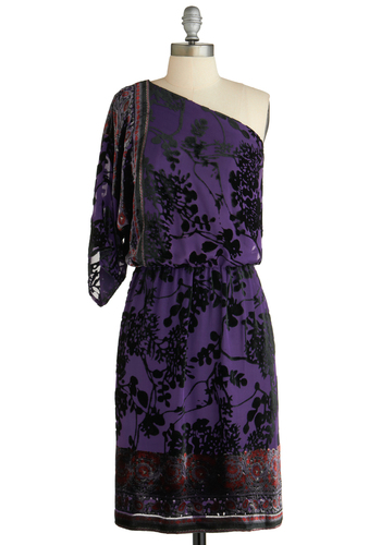 Sample 1810 - Purple, Red, Black, Print, Party, Sheath / Shift, 3/4 Sleeve, One Shoulder