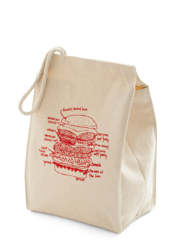Lead the Pack Lunch Bag in Burger - Cream, Red