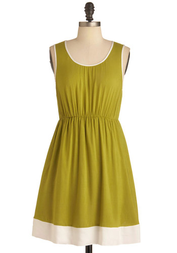 Waiting in Outline Dress in Green - Mid-length, Green, White, Solid, Backless, Casual, A-line, Tank top (2 thick straps)